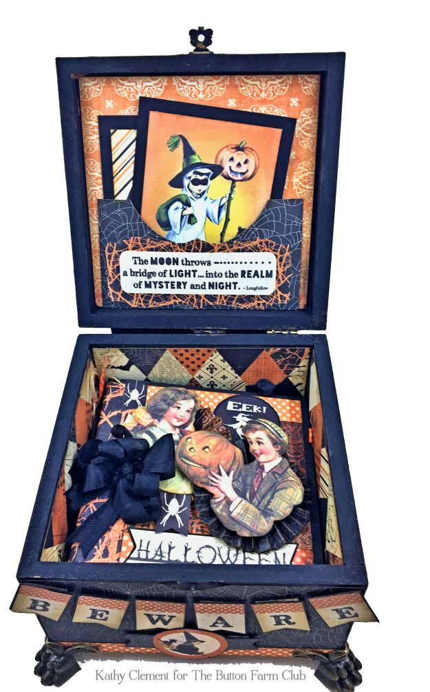 Authentique Nightfall Halloween Treat Box Mini Album Kit by Kathy Clement for Button Farm Club Photo 05