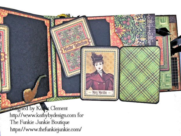 G45 Master Detective Faux Rust Mini Album by Kathy Clement for The Funkie Junkie Boutique Photo 08