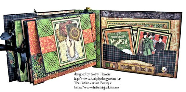 G45 Master Detective Faux Rust Mini Album by Kathy Clement for The Funkie Junkie Boutique Photo 12