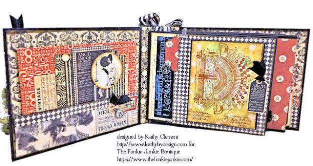 G45 Communique Faux Embossed Leather Mini Album Tutorial by Kathy Clement for The Funkie Junkie Boutique Photo 07
