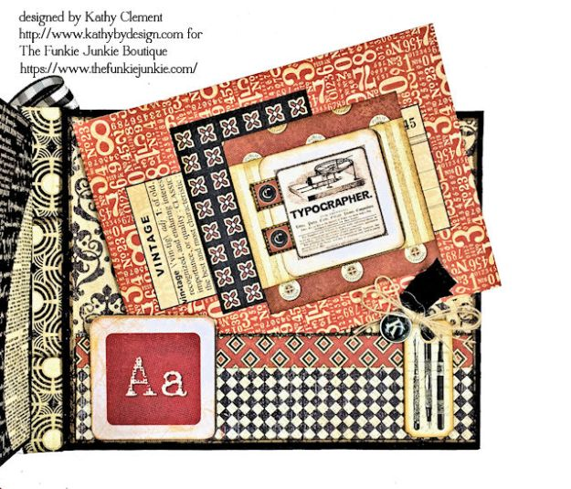 G45 Communique Faux Embossed Leather Mini Album Tutorial by Kathy Clement for The Funkie Junkie Boutique Photo 14