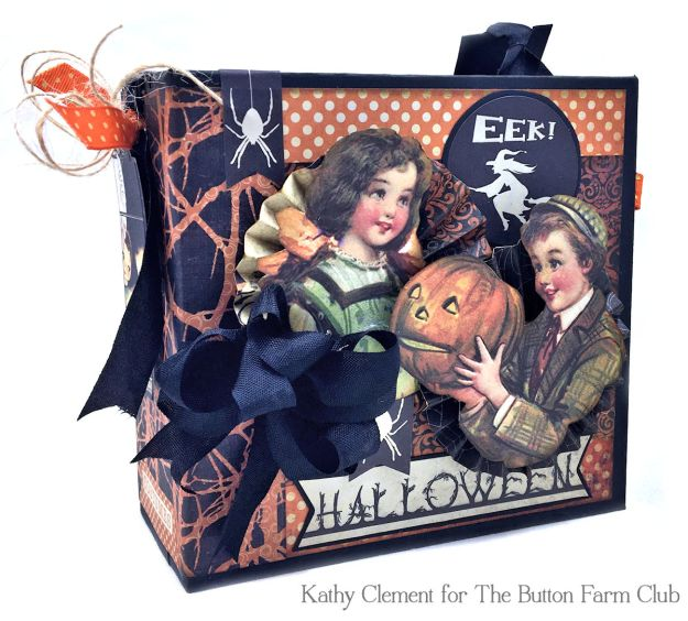 Authentique Nightfall Halloween Treat Box Mini Album Kit by Kathy Clement for Button Farm Club Photo 07