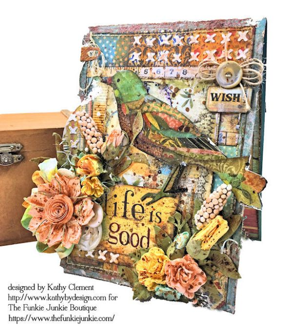 Stamperia Patchwork Life is Good Card Folio by Kathy Clement for The Funkie Junkie Boutique Photo 03
