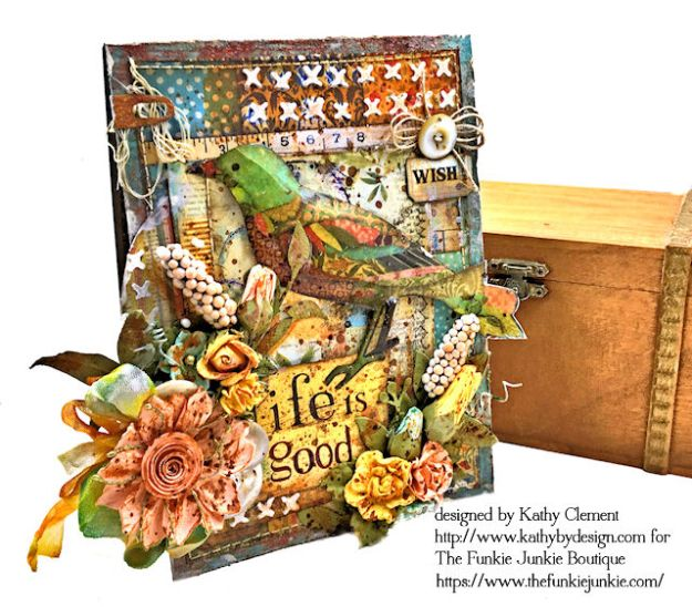 Stamperia Patchwork Life is Good Card Folio by Kathy Clement for The Funkie Junkie Boutique Photo 01