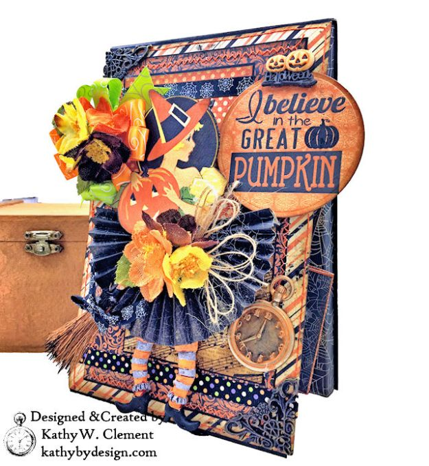 Witches Halloween Ball Card Folio by Kathy Clement for Really Reaonable Ribbon Product by Authentique Paper Photo 03
