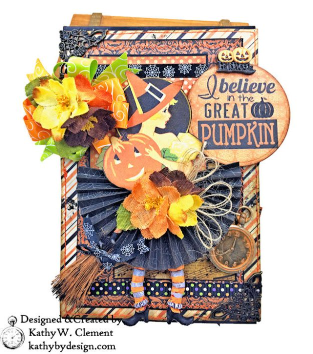 Witches Halloween Ball Card Folio by Kathy Clement for Really Reaonable Ribbon Product by Authentique Paper Photo 01
