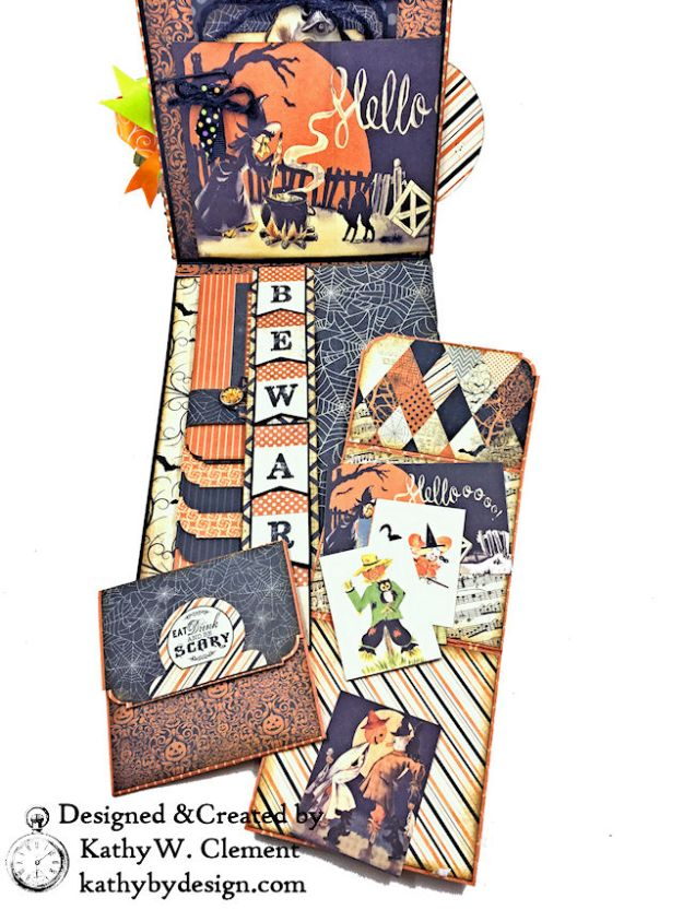 Witches Halloween Ball Card Folio by Kathy Clement for Really Reaonable Ribbon Product by Authentique Paper Photo 05