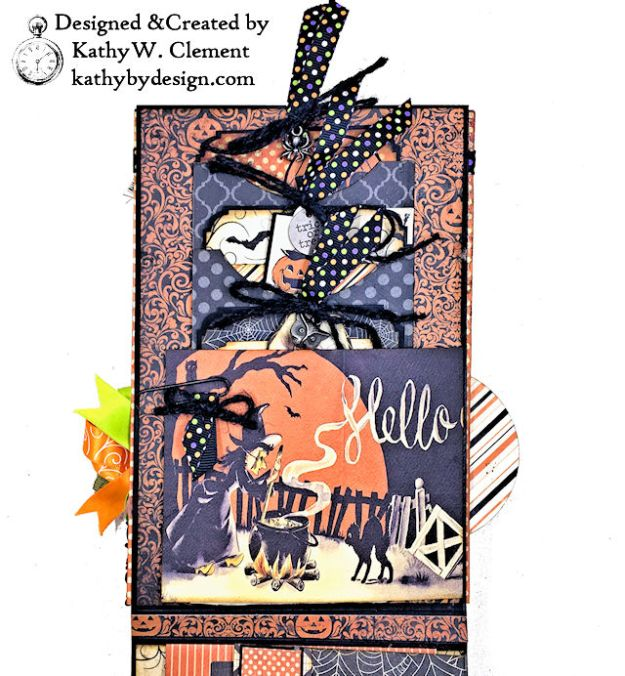 Witches Halloween Ball Card Folio by Kathy Clement for Really Reaonable Ribbon Product by Authentique Paper Photo 07