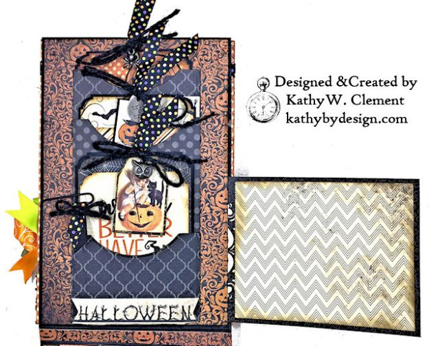 Witches Halloween Ball Card Folio by Kathy Clement for Really Reaonable Ribbon Product by Authentique Paper Photo 08