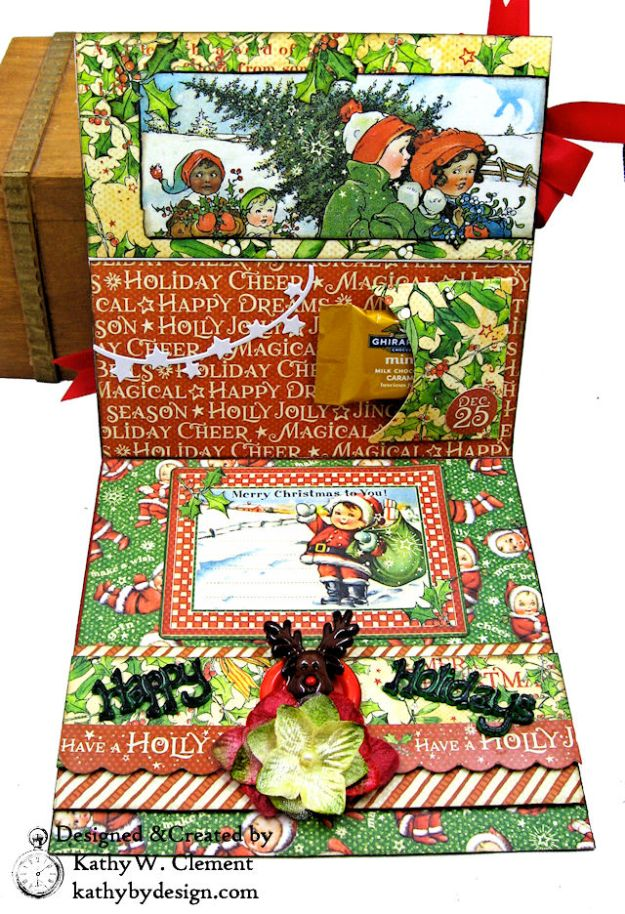 Graphic 45 Christmas Magic Easel Card by Kathy Clement for Really Reasonable Ribbon Photo 04