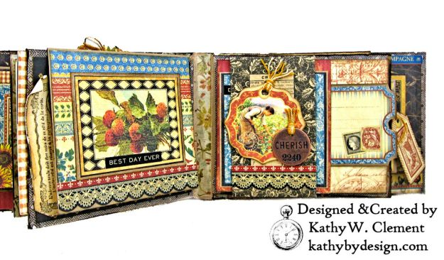 Graphic 45 French Country Gratitude Journal Tutorial by Kathy Clement for The Funkie Junkie Boutique Photo 07