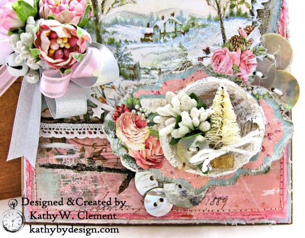 Stamperia Pink Christmas Card Folio by Kathy Clement for Really Reasonable Ribbon Photo 05
