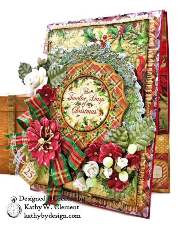 Graphic 45 Twelve Days of Christmas Card Folio Tim Holtz Laurel Impresslits Wreath by Kathy Clement for The Funkie Junkie Boutique Photo 03