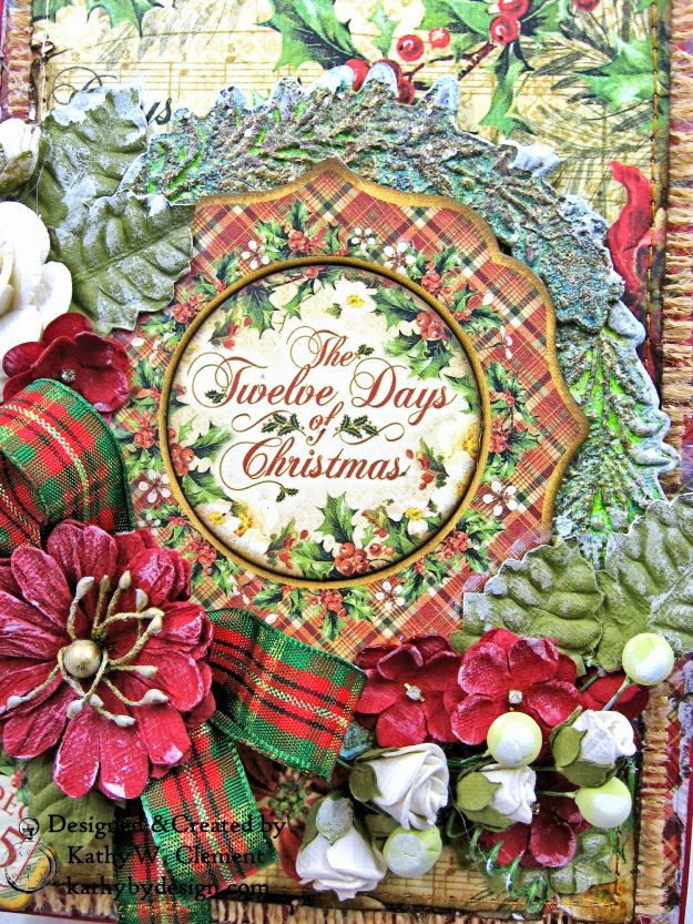 Graphic 45 Twelve Days of Christmas Card Folio Tim Holtz Laurel Impresslits Wreath by Kathy Clement for The Funkie Junkie Boutique Photo 02