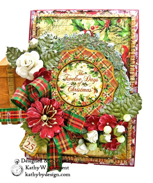 Graphic 45 Twelve Days of Christmas Card Folio Tim Holtz Laurel Impresslits Wreath by Kathy Clement for The Funkie Junkie Boutique Photo 01