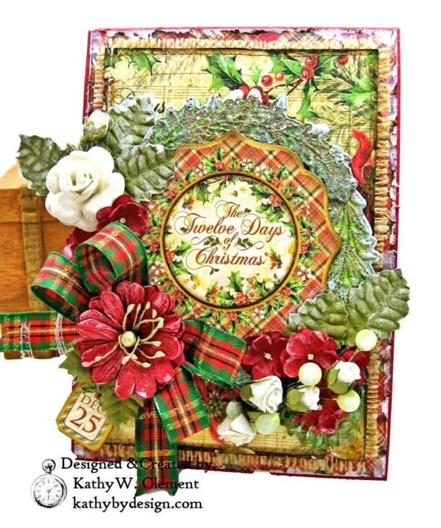 Graphic 45 Twelve Days of Christmas Card Folio Tim Holtz Laurel Impresslits Wreath by Kathy Clement for The Funkie Junkie Boutique Photo 01
