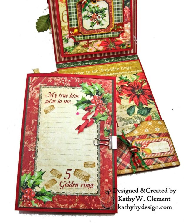 Graphic 45 Twelve Days of Christmas Card Folio Tim Holtz Laurel Impresslits Wreath by Kathy Clement for The Funkie Junkie Boutique Photo 07