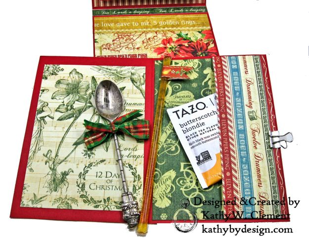 Graphic 45 Twelve Days of Christmas Card Folio Tim Holtz Laurel Impresslits Wreath by Kathy Clement for The Funkie Junkie Boutique Photo 08