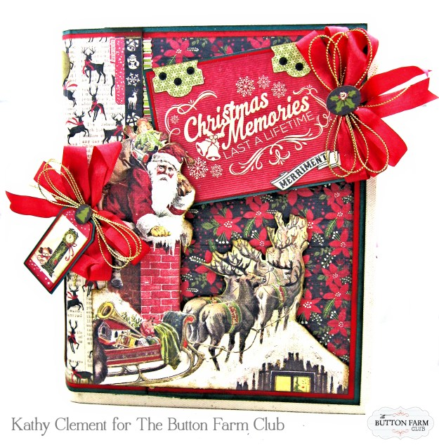 Authentique Nostalgia Christmas Memories Mini Album Kit for the Button Farm Club by Kathy Clement Photo 02