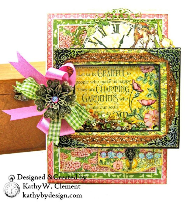 Blooming Beautiful Graphic 45 Garden Goddess Shaker Card by Kathy Clement for Really Reasonable Ribbon Photo 01