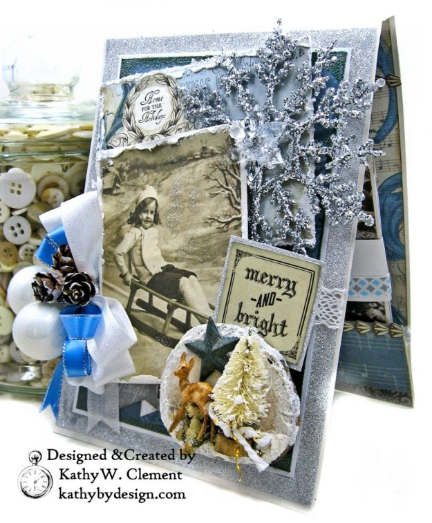 Frosted Memories Vintage Style Christmas Card Folio by Kathy Clement Kaisercraft Frosted for Really Reasonable Ribbon Photo 04