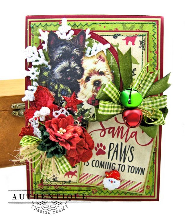 Santa Paws Christmas Card Folio Tutorial Nostalgia by Kathy Clement for Authentique Paper Photo 01