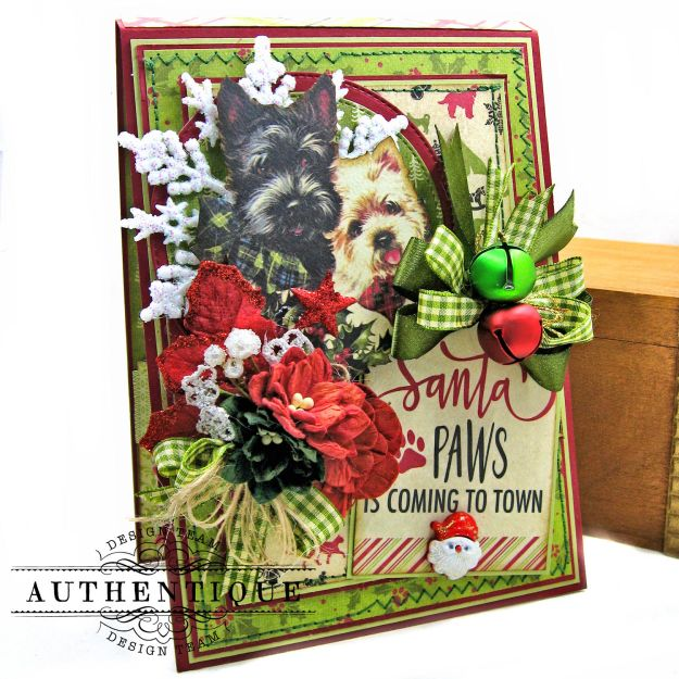 Santa Paws Christmas Card Folio Tutorial Nostalgia by Kathy Clement for Authentique Paper Photo 03