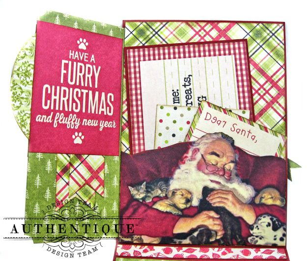 Santa Paws Christmas Card Folio Tutorial Nostalgia by Kathy Clement for Authentique Paper Photo 06