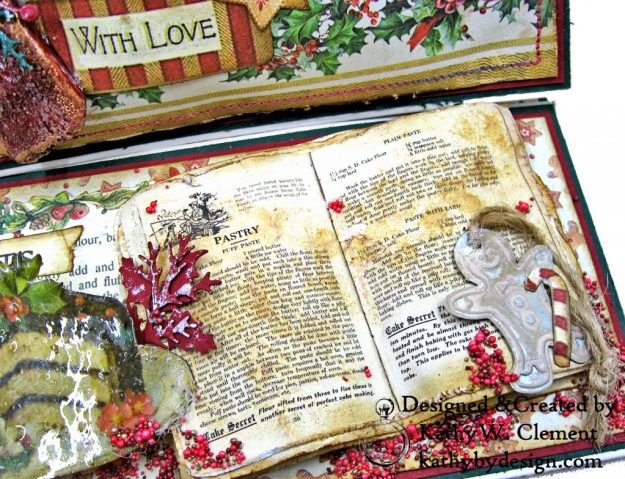 Christmas Kitchen Easel Card Folio by Kathy Clement for The Funkie Junkie Boutique Stamperia Christmas Vintage Photo 04