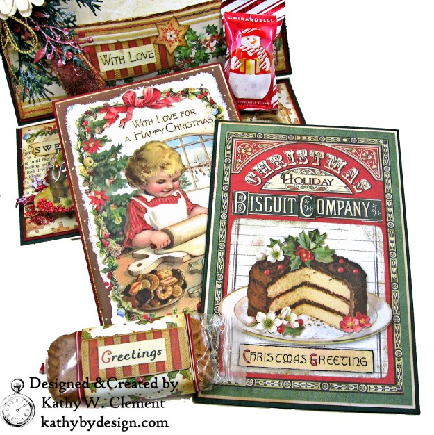 Christmas Kitchen Easel Card Folio by Kathy Clement for The Funkie Junkie Boutique Stamperia Christmas Vintage Photo 06