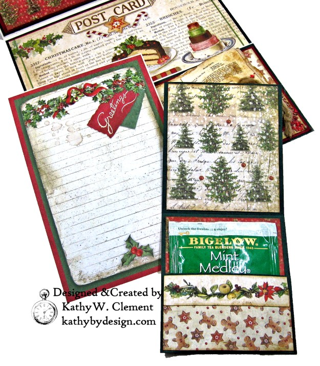 Christmas Kitchen Easel Card Folio by Kathy Clement for The Funkie Junkie Boutique Stamperia Christmas Vintage Photo 10