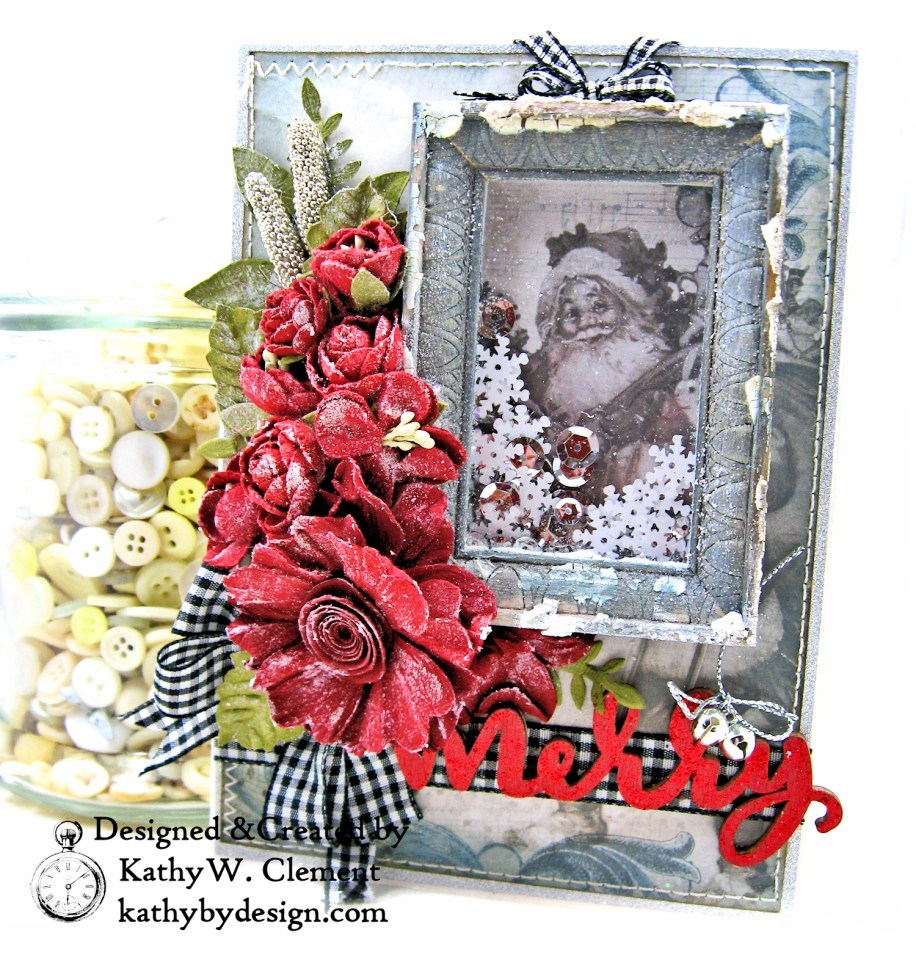 Santa Claus is Watching Shaker card Kaisercraft Frosted by Kathy Clement Photo 01