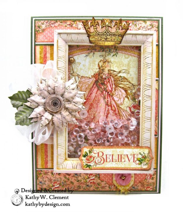 Graphic 45 Princess Believe Shaker Card by kathy Clement Kathy by Design for Buttons Galore and More Photo 02