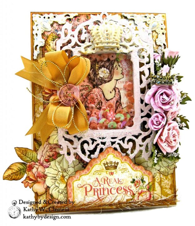 Graphic 45 Princess Real Princess Shaker Card by Kathy Clement for Buttons Galore and More Photo 01a