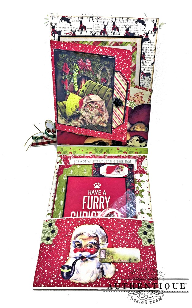 Authentique Nostalgia Meowy Christmas Card Folio by Kathy Clement for Really Reasonable Ribbon Photo 02