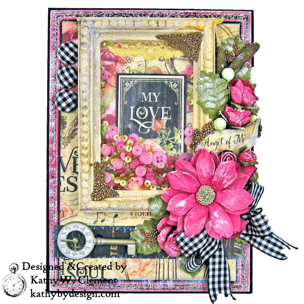 Graphic 45 Love Notes Shaker Card by Kathy Clement For Creativation 2019 Photo 03
