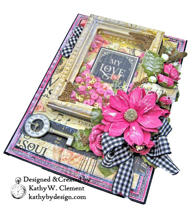 Graphic 45 Love Notes Shaker Card by Kathy Clement For Creativation 2019 Photo 04