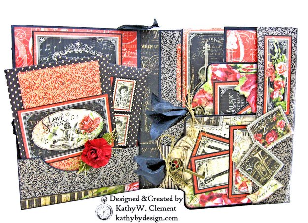 Graphic 45 Love Notes Trifold Tag and Pocket Folio by Kathy Clement Kathy by Design Photo 04
