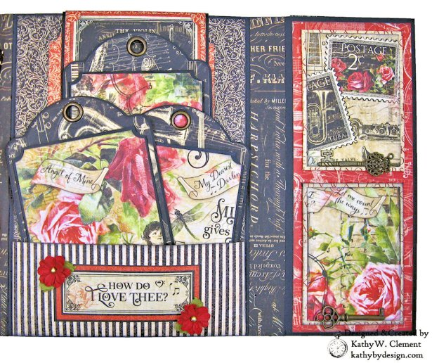 Graphic 45 Love Notes Trifold Tag and Pocket Folio by Kathy Clement Kathy by Design Photo 06