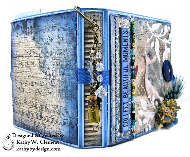 Stamperia Winter Blues Folio Eileen Hull Passport Journal by Kathy Clement for The Funkie Junkie Boutique Photo 04