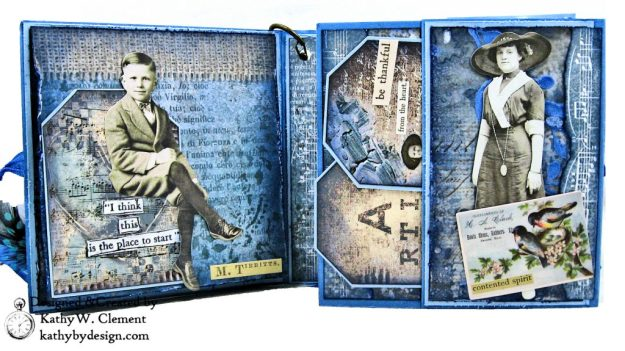 Stamperia Winter Blues Folio Eileen Hull Passport Journal by Kathy Clement for The Funkie Junkie Boutique Photo 05