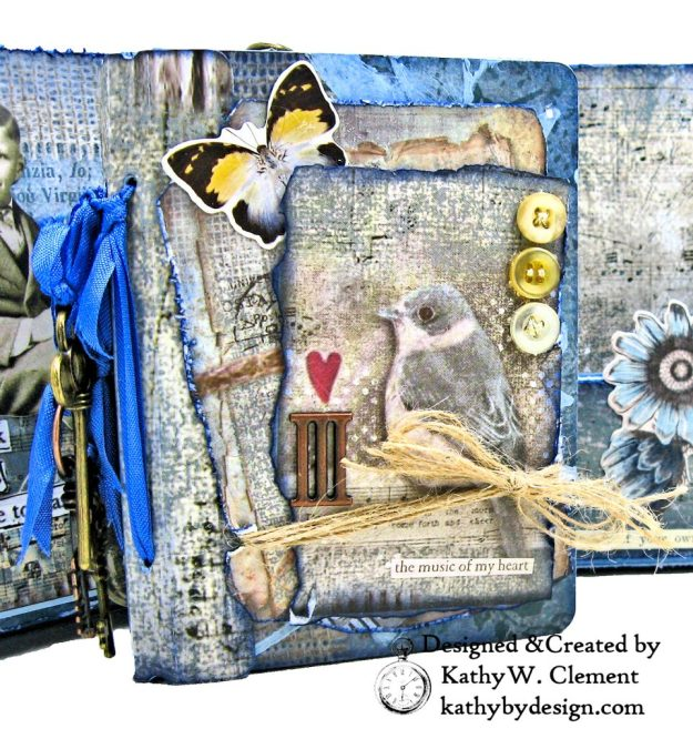 Stamperia Winter Blues Folio Eileen Hull Passport Journal by Kathy Clement for The Funkie Junkie Boutique Photo 07