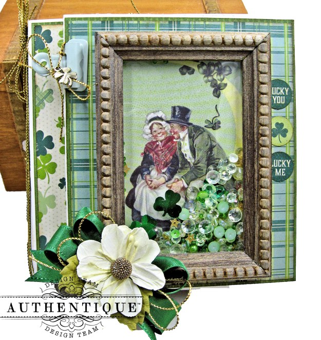 Authentique Clover St Patricks Day Trifold Shaker Folio Tutorial by Kathy Clement Kathy by Design Photo 01