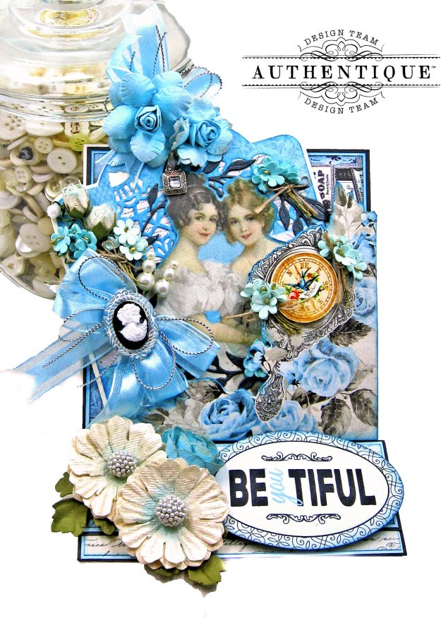 Authentique Glamour Tag & Pocket Easel Card Tutorial Graphic 45 Square Tag Square Tag and Clocks Die Eileen Hull Credit Card Sleeve Tim Holtz Mixed Media 2 Dies Spellbinder Harvest Wreath Die by Kathy Clement Kathy by Design Photo 01