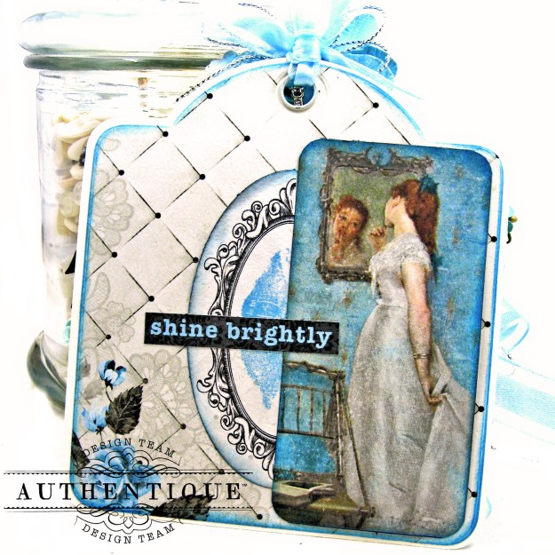 Authentique Glamour Tag & Pocket Easel Card Tutorial Graphic 45 Square Tag Square Tag and Clocks Die Eileen Hull Credit Card Sleeve Tim Holtz Mixed Media 2 Dies Spellbinder Harvest Wreath Die by Kathy Clement Kathy by Design Photo 05