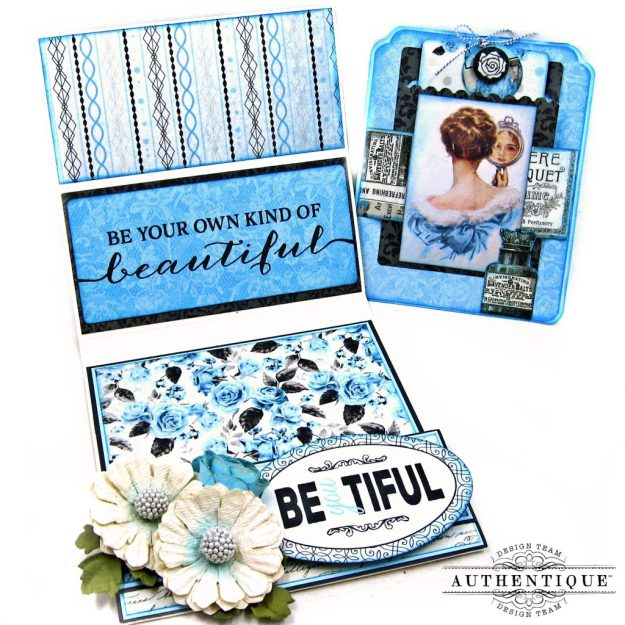Authentique Glamour Tag & Pocket Easel Card Tutorial Graphic 45 Square Tag Square Tag and Clocks Die Eileen Hull Credit Card Sleeve Tim Holtz Mixed Media 2 Dies Spellbinder Harvest Wreath Die by Kathy Clement Kathy by Design Photo 07