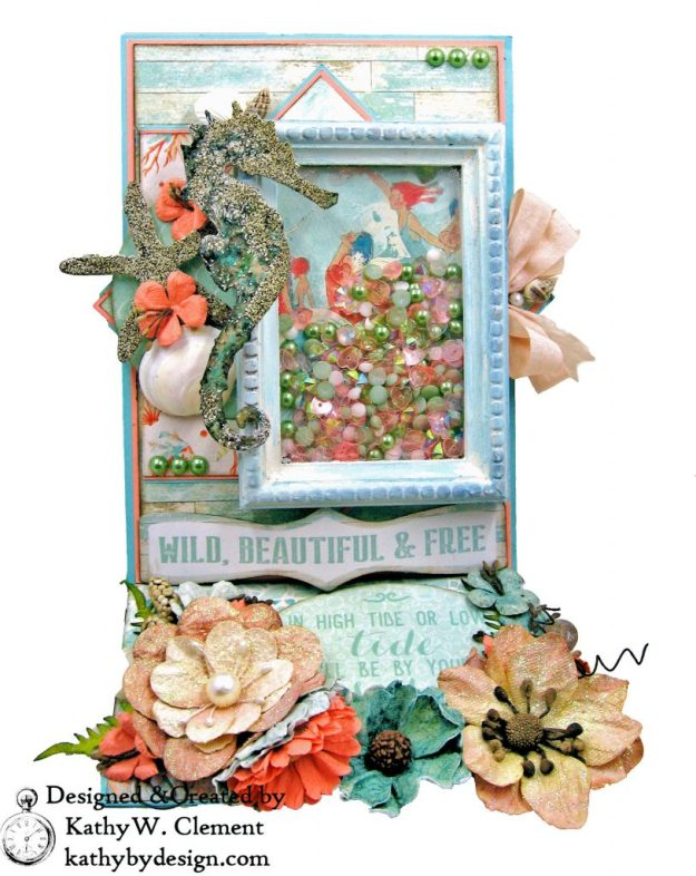 Authentique Sea Maiden Beachy Shaker Thank You Card Tim Holtz Sand and Sea Die Vignette Frame Easel Card by Kathy Clement kathybydesign.com Photo 01