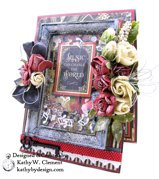 Graphic 45 Love Notes Shaker Card by Kathy Clement for Really Reasonable Ribbon Photo 01