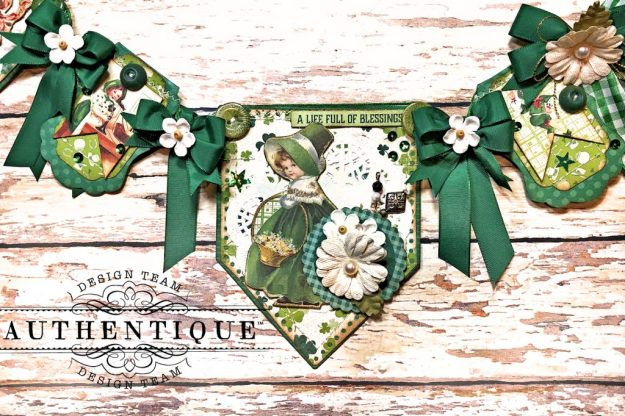 Authentique Clover Eileen Hull House/Pocket Stitchlits Dies St. Patrick's Day Banner Kathy Clement Kathy by Design Photo 04