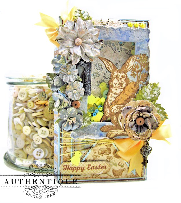 Authentique Abundant Peter Cottontail Shaker Card by Kathy Clement Kathy by Design Tim Holtz Lace Baseboard Frame Photo 01